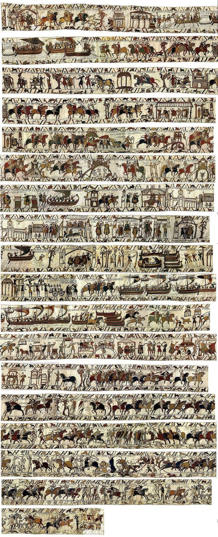 The Bayeux tapestry [Harold & the Battle of Hastings (AD 1066) from the Norman point of view] - was able to see it while traveling in Normandy, France. The colors are still fantastic!