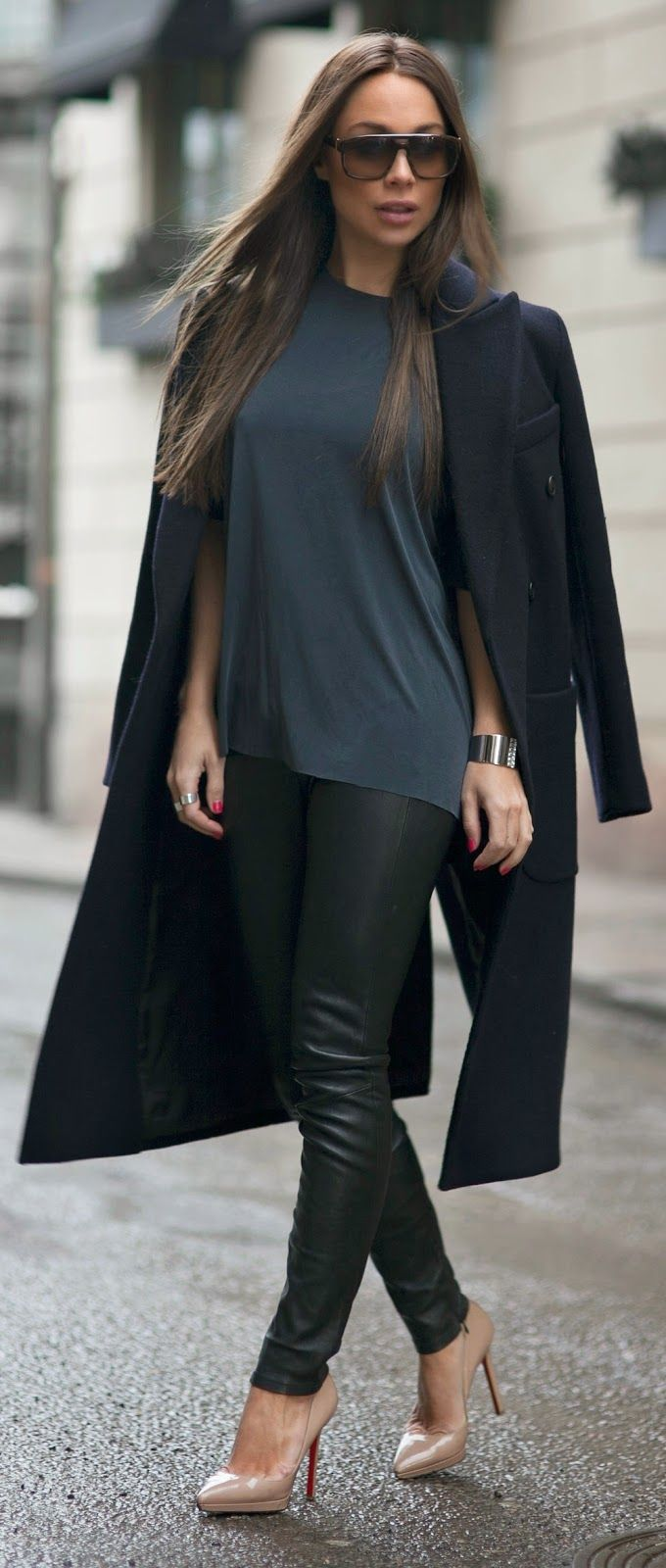 Faux Leather Pant , Cozy Black Coat , Chic Tee and Nude Heels by Johanna Olsson