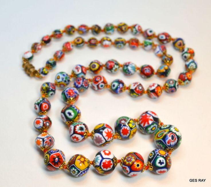 Antique RARE VENETIAN Murano Millefiori Art Glass Bead Necklace  #VENETIANMurano