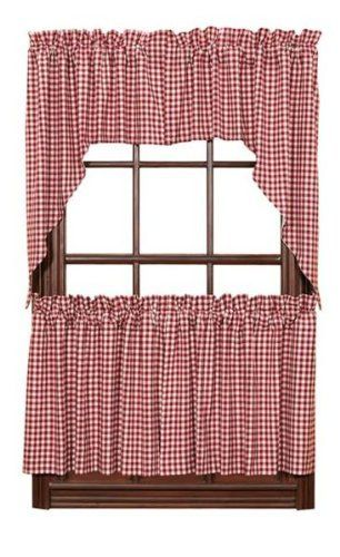 red check gingham cafe curtains tier set valance kitchen new