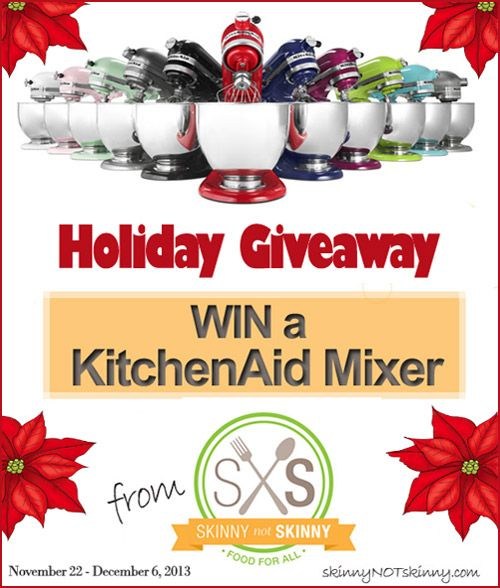 This site has some of the best recipes, handsdown... check it out ;) Enter to win a Kitchenaid 5 quart Mixer in Skinny Not Skinny's Holiday Giveaway