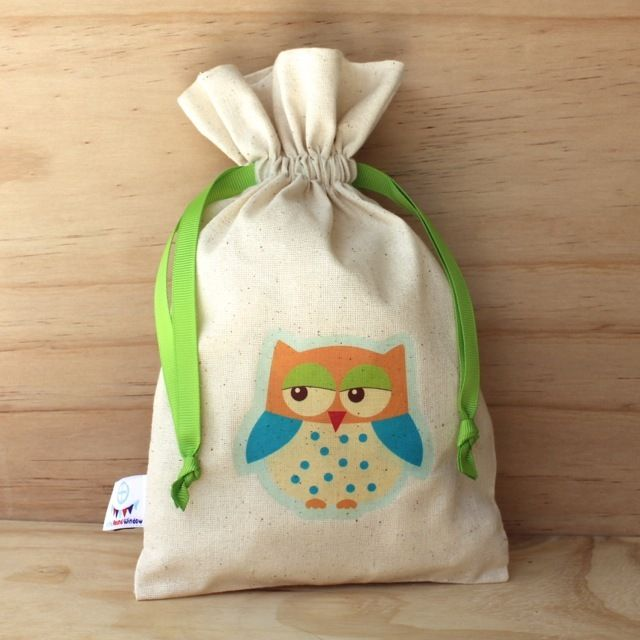 Happy Blue Owl Calico Drawstring Bag