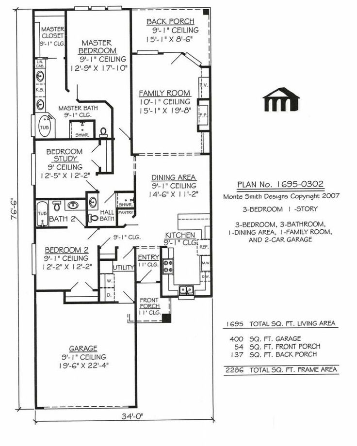 11 best house plans images on pinterest house design for One story house plans for narrow lots