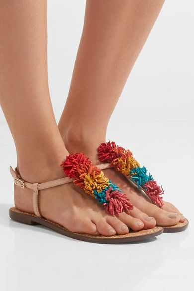 Sam Edelman - Gates Pompom-embellished Leather Sandals - Red - US10.5