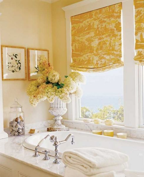 Hang window treatments in our bathroom to soften it up a bit and add another texture.
