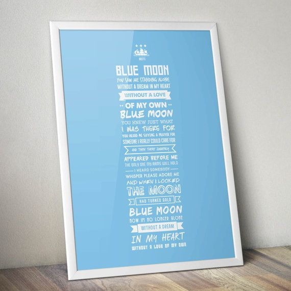 Manchester City  Blue Moon Lyrics Print by KieranCarrollDesign, €15.00