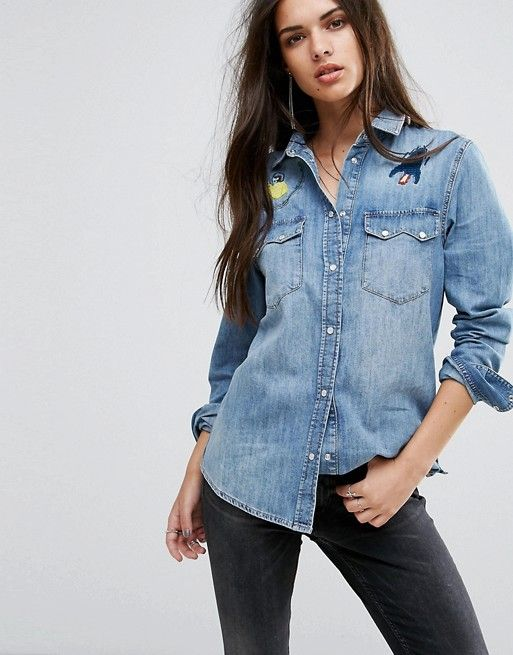 Diesel Denim Shirt with Embroidery