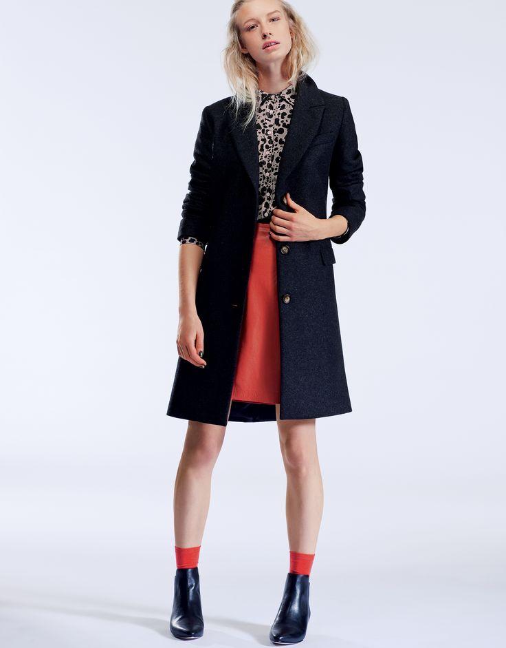 LOOK 8: Cambourne City Coat, Felsted Print Shirt, Monmouth Leather Skirt #BaukjenlovesLFW
