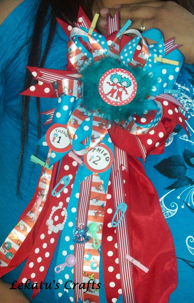 thing 1 thing 2 baby shower corsage