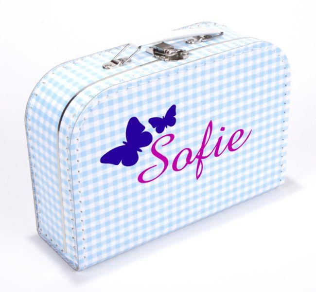 Koffertje met naam en vlinders