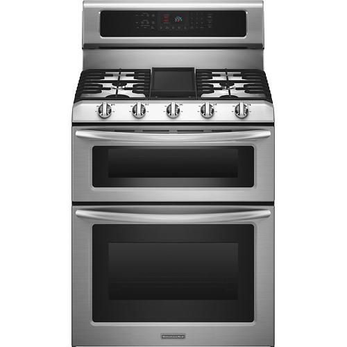 "KitchenAid - 30"" Self-Cleaning Freestanding Double Oven Gas Convection Range - Stainless-Steel - Larger Front"