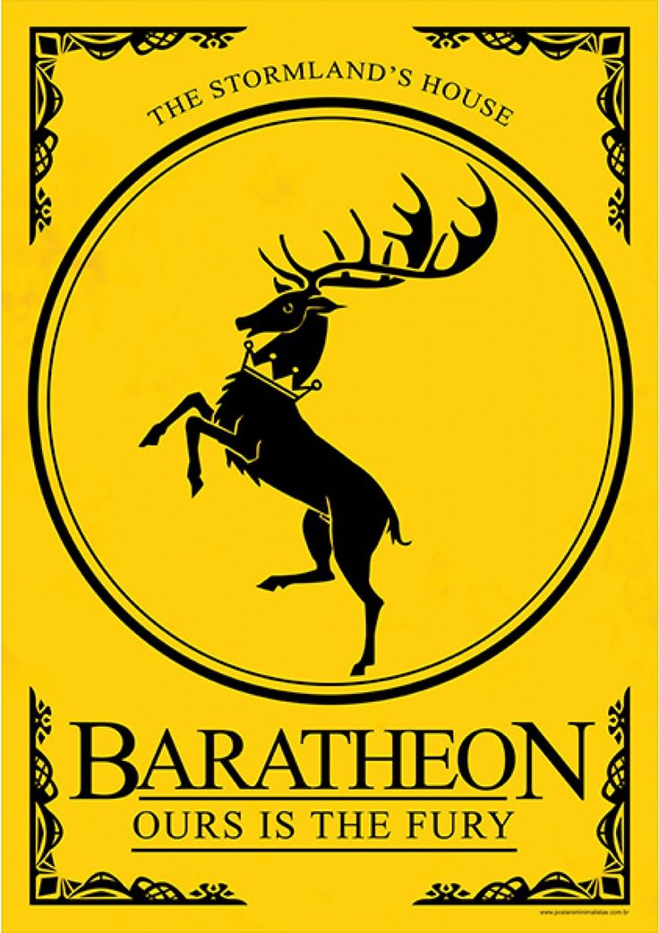 House Baratheon - Game of Thrones - Ficção/Fantasia - Séries | Posters Minimalistas                                                                                                                                                                                 Mais
