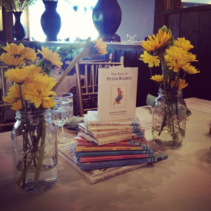 Library book theme baby shower centerpieces using