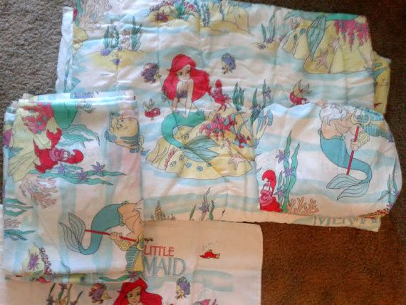 Vintage 1990s The Little Mermaid Twin Size Bed Set