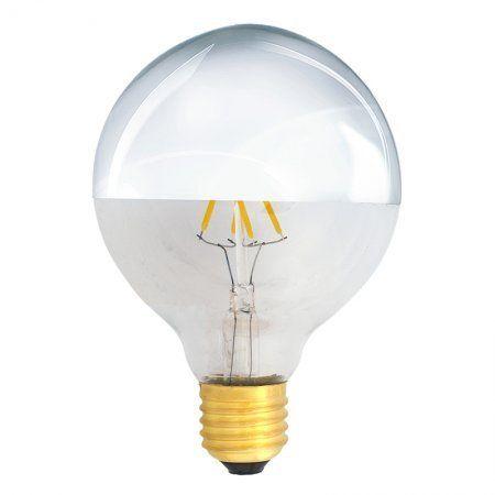 Bombilla Filamento LED E27 4W 2700K 400lm G95 Plateada