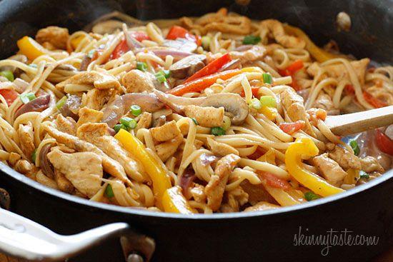Cajun chicken pasta. Less than 325 calories/serving. Spicy!
