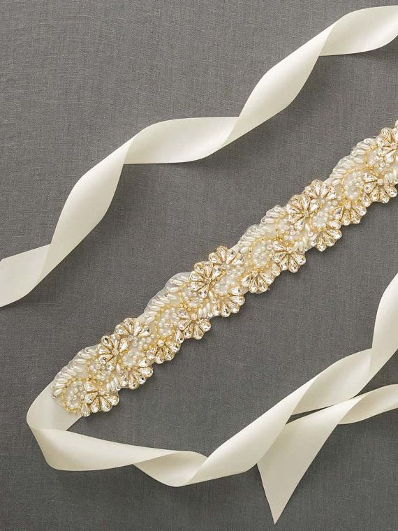 Gold Bridal Sash Gold Rhinestone Wedding Sash by DavieandChiyo