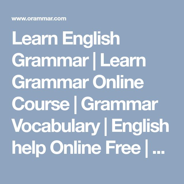 Learn Grammar Online - English The Easy Way