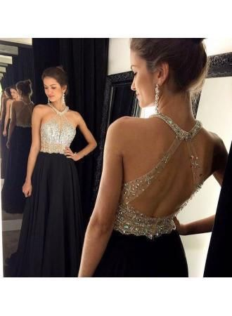Sexy A-Line Chiffon Black Dress with Beadings Halter Open Back Prom Dresses,44