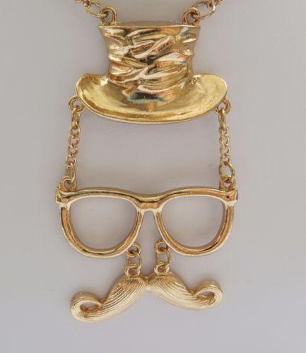 Vintage-Style-Magician-Moustache-Statement-Necklace-Rose-Gold-Colour