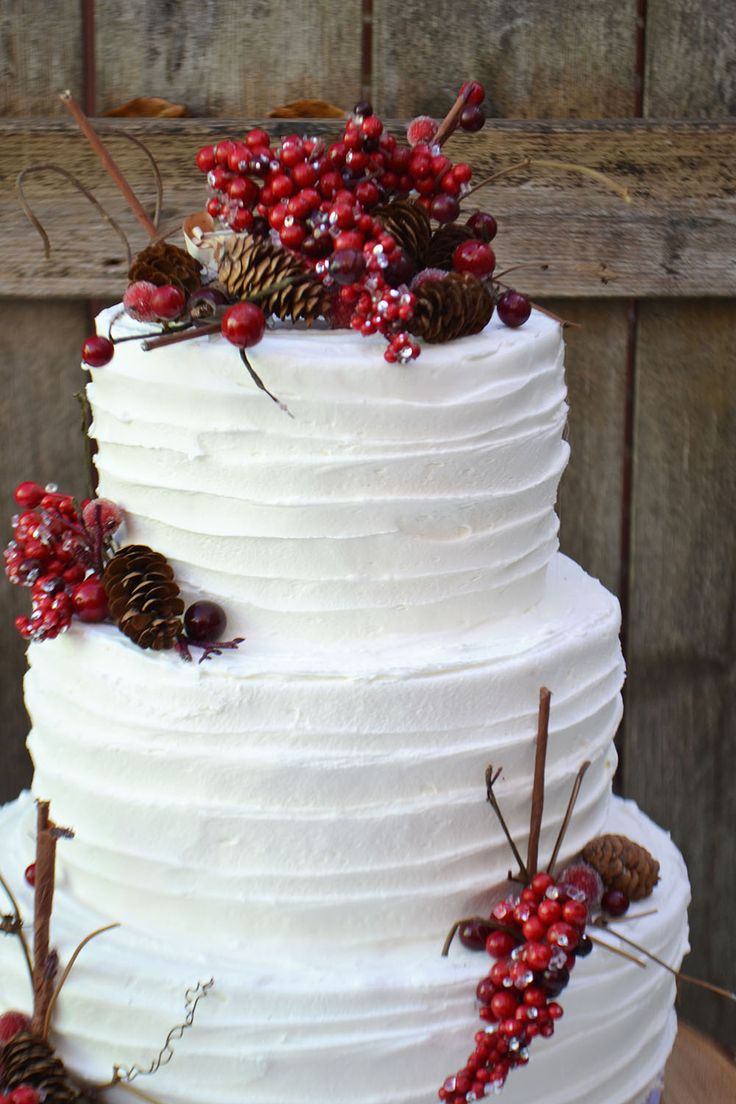 Rustic three tiered Christmas cake by Bake Sale