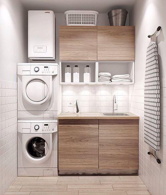Lavadora e secadora em cima da outra