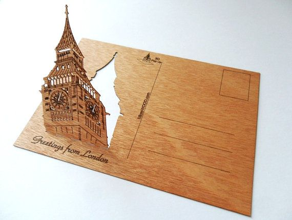 3 Real Wooden Postcards Big Ben London  by microwoodproducts
