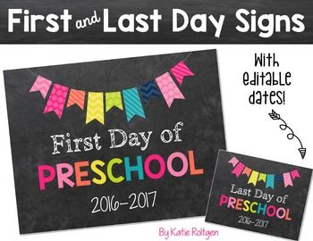First and Last Day of School Signs {Rainbow} -This is a set of first day of school and last day of school signs for your students or your own children! There are two versions of each sign; one with a colorful font for the grade level, and one with all white text. Each sign features a colorful banner. This is a Powerpoint file and you can edit the year! {PreK, Kindergarten, 1st, 2nd, 3rd, 4th, 5th, 6th, 7th, 8th, 9th, 10th, 11th, 12th grade, K, elementary, primary, upperelementary, middle…