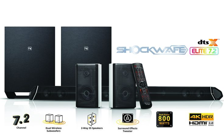"""Nakamichi Shockwafe Elite 7.2Ch DTS:X 800W 45-Inch Sound Bar System with Dual 8"""" Wireless Subwoofers & 2-Way Rear Satellite Speakers"""