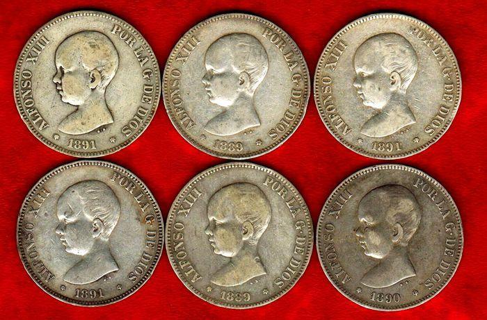 Spanje - Set van zes zilveren munten van 5 pesetas - Alfonso XIII allemaal verschillend van opeenvolgende jaren (1889 (2) 1890 1891 (3) (6).  EUR 1.00  Meer informatie