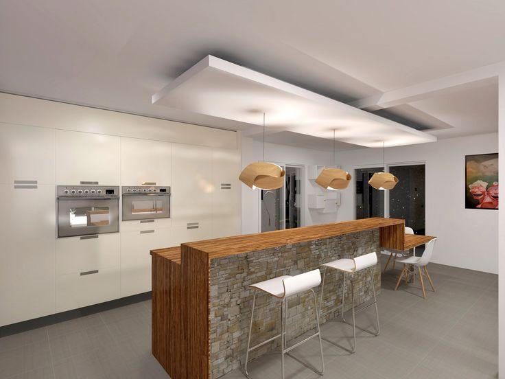 Comptoir bois et pierre salle a manger pinterest bar for Cuisine ouverte avec comptoir bar