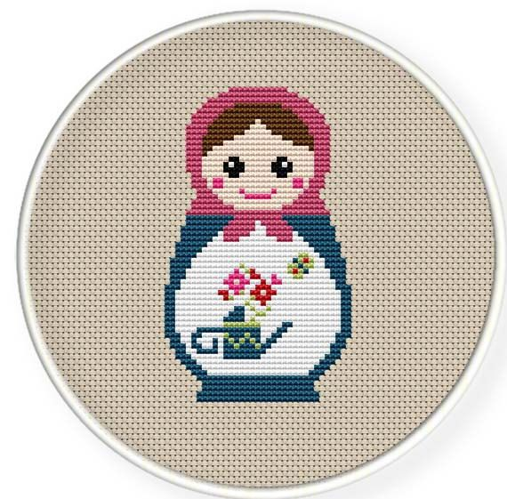 Instant Download,Free shipping,Cross stitch pattern, Cross-Stitch PDF,Mask Russian Doll ,Matryoshka  Babushkas,zxxc0235 on Etsy, $4.50