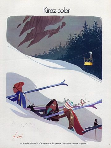 Edmond Kiraz 1973 Skiing, Winter Sports, Kiraz-color illustrated by Edmond Kiraz | Hprints.com