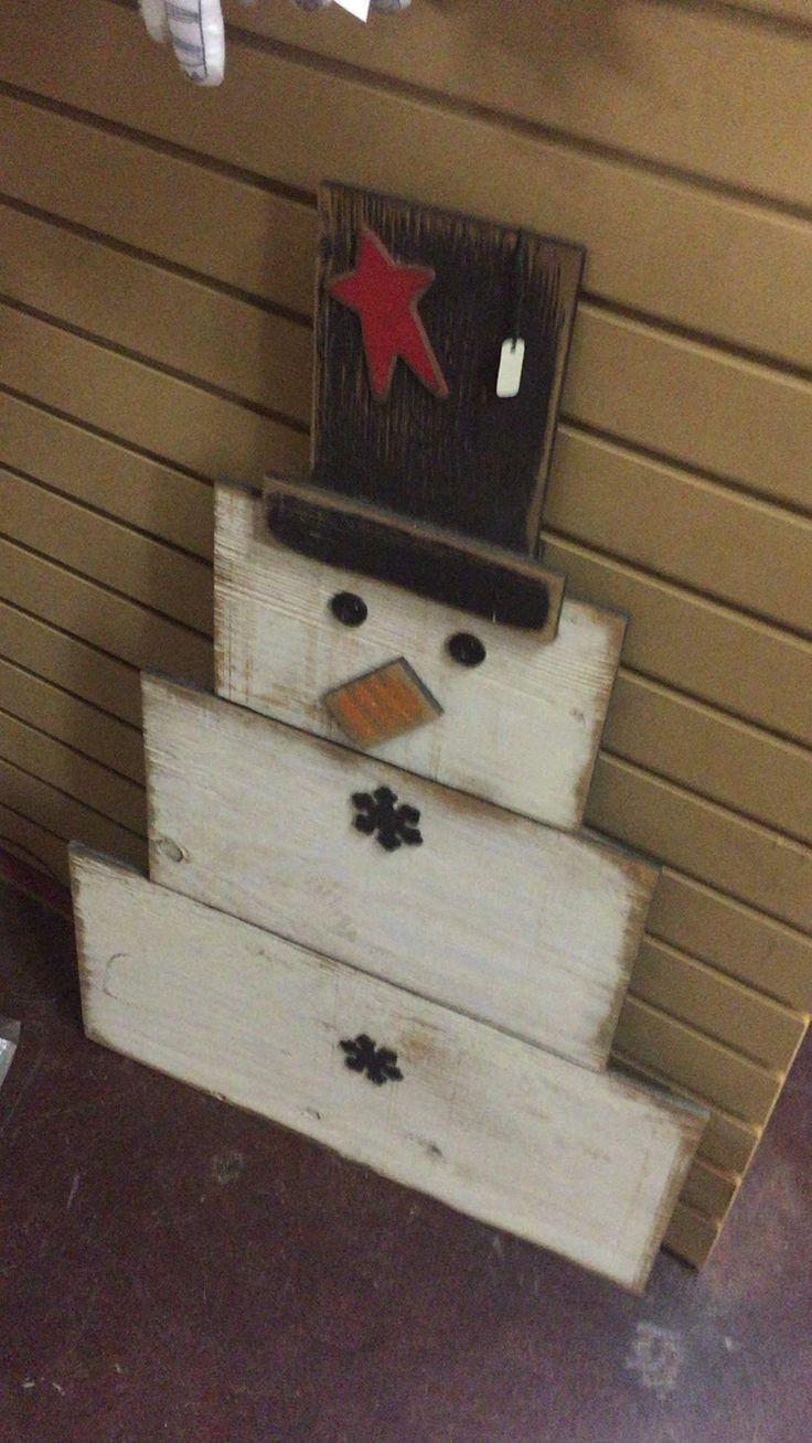 Wood scrap snowman