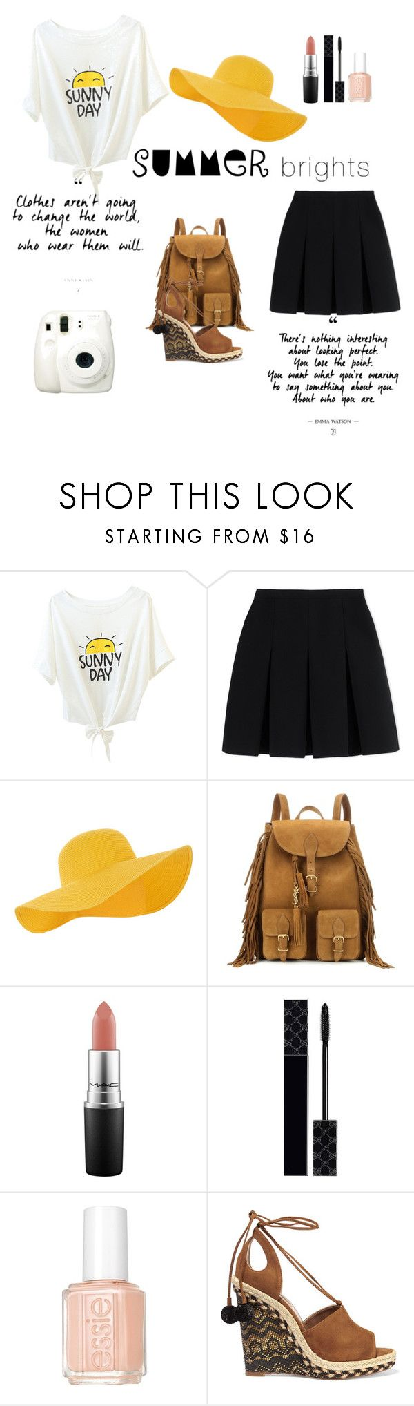 """""""summer bright"""" by zahrohusna on Polyvore featuring Fuji, Alexander Wang, Accessorize, Yves Saint Laurent, MAC Cosmetics, Gucci, Essie, Aquazzura and summerbrights"""