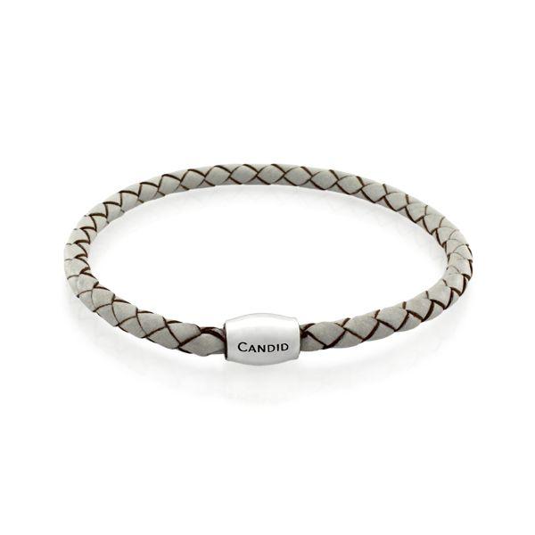 Candid White Plaited Leather Bracelet