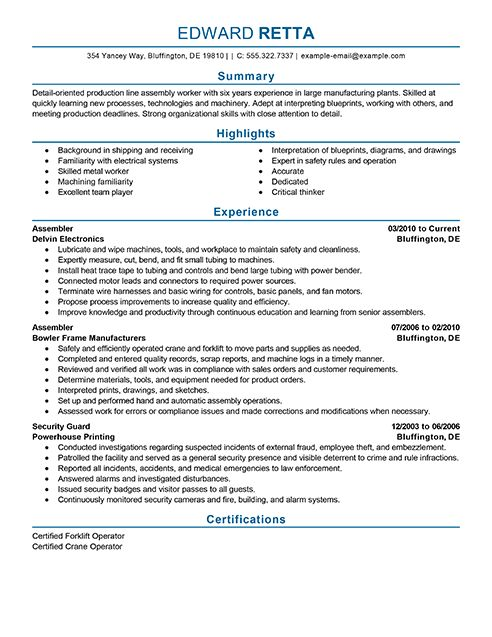 27 best Resume Cv Examples images on Pinterest Curriculum - electronic assembler sample resume