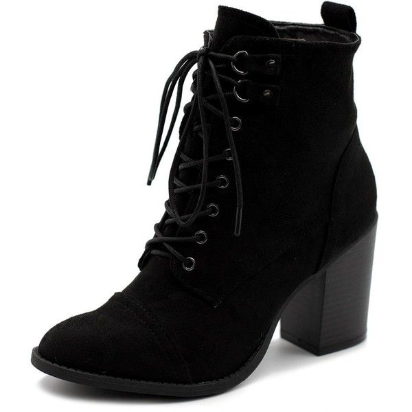 Ollio Women's Shoe Faux Suede Lace Up Stacked High Heel Ankle Boots... ($30) ❤ liked on Polyvore featuring shoes, boots, ankle booties, lace-up booties, high heel ankle boots, short black boots, lace up high heel booties and wide width ankle boots