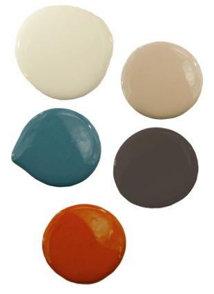 Living room color palette idea - I think I would like a shade of green instead of the orange with a punch of red