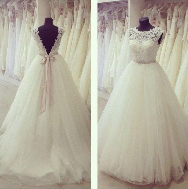 Neu Elfenbein Spitze Hochzeitskleid Tüll Brautkleid Maßgeschneidert