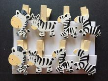 8pcs Loving Zebra Wood Clips Pin Clothespin Clips Craft Postcard Wooden Pegs Office Supplies for Kid's Birthday Party Favors(China)