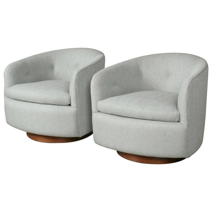 Pair of Swivel Rocking Tub Chairs by Milo Baughman, circa 1970 | From a unique collection of antique and modern lounge chairs at https://www.1stdibs.com/furniture/seating/lounge-chairs/