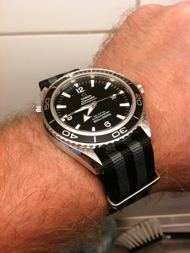 Omega Seamaster Planet Ocean (PO) on a TSS NATO G10 strap (UK). This is a great NATO for those who prefer a finer weave than typically offered. http://www.watchworx.co.uk/pages/lwb/NatoG10.htm Photo found here: http://forums.watchuseek.com/f20/just-got-my-new-omega-po-xl-need-help-finding-cool-nato-strap-summer-683309.html  (Click on photo for high-res. image.)
