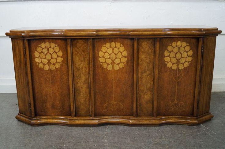 Weiman Burl Walnut Serpentine Sideboard Cabinet on Chairish.com