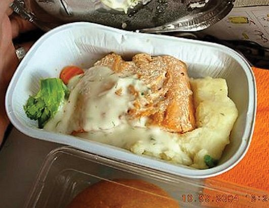 "The passenger who received this meal commented, ""The worst I've had from Aeroflot. The salmon was the same age as my grandma?"""
