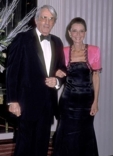 Actor Gregory Peck and Hepburn attend the First Annual Lighthouse for the Blind's Winternight Gala at The Waldorf-Astoria Hotel in New York, an event which honored Hepburn, 1988.