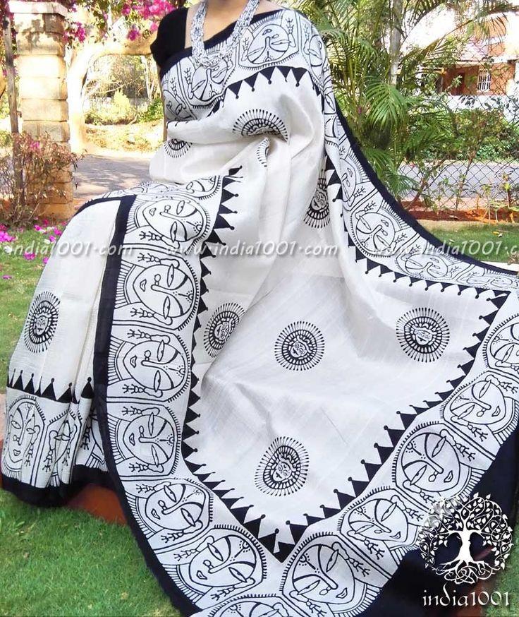 Elegant Block Printed Bisnupur Silk Saree