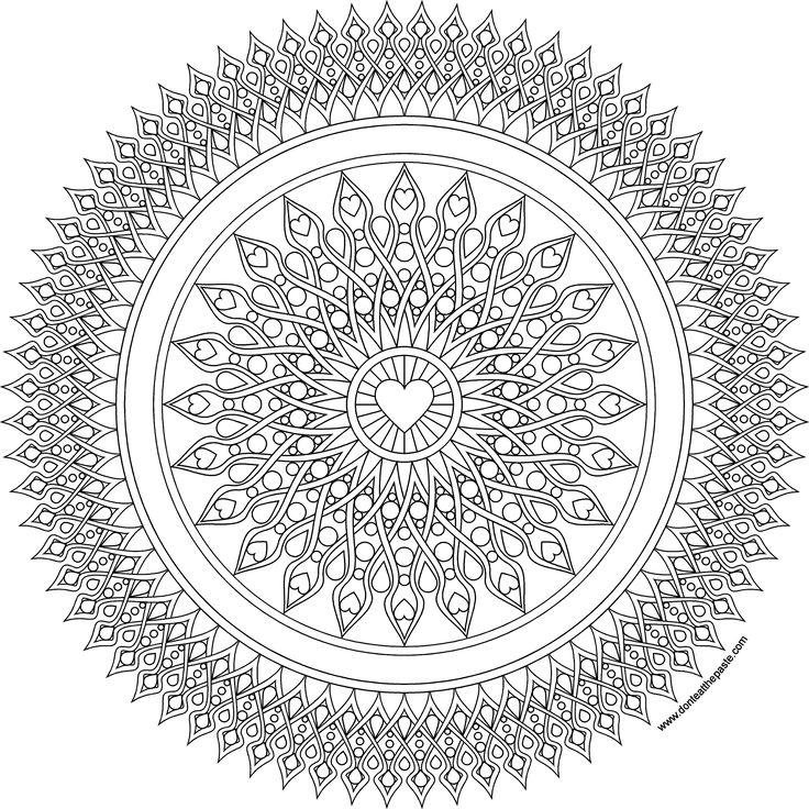 Heart sights mandala coloring page in jpg and transparent png format #coloringpage #adultcoloring #mandala