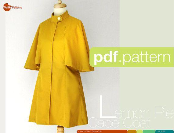 PDF sewing pattern. Women Cape Coat. -Lemon Pie- (size 34-42)