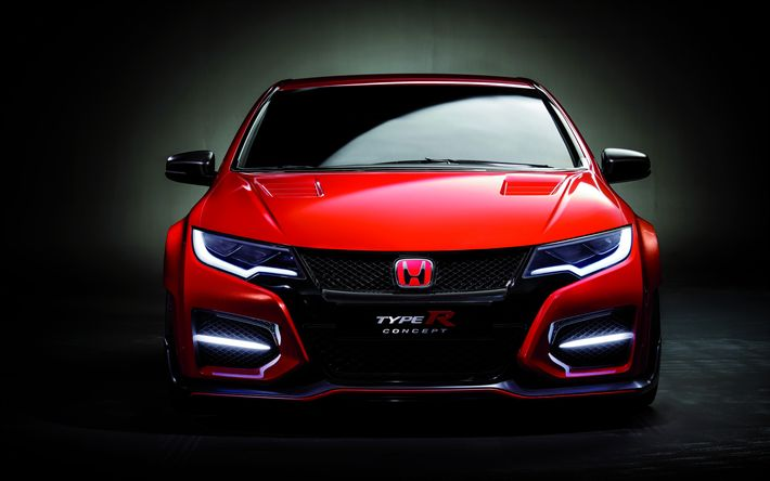 Download wallpapers Honda Civic Type R, 4k, studio, 2017 cars, red Civic, japanese cars, Honda